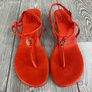 Tory Burch Logo Orange Wedge Sandals Size 8